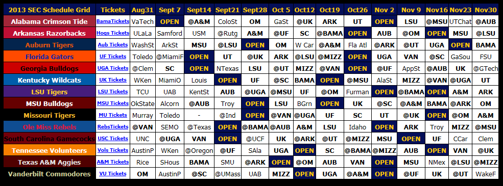 2013 SEC Football Schedule