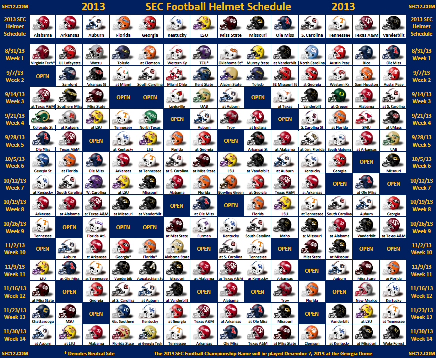 2014 SEC Football Helmet Schedule Printable