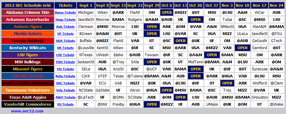 Print 2012 SEC Football Schedule