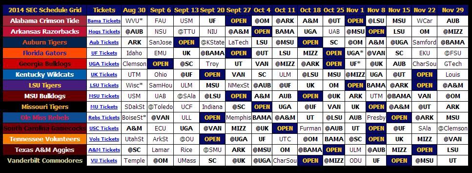 Print 2014 SEC Football Schedule