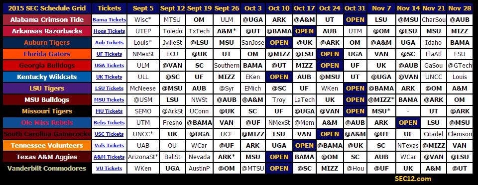 2015 SEC Football Schedule