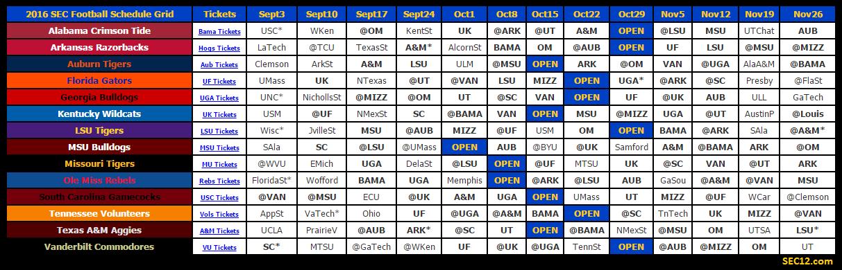 2016 SEC Football Schedule