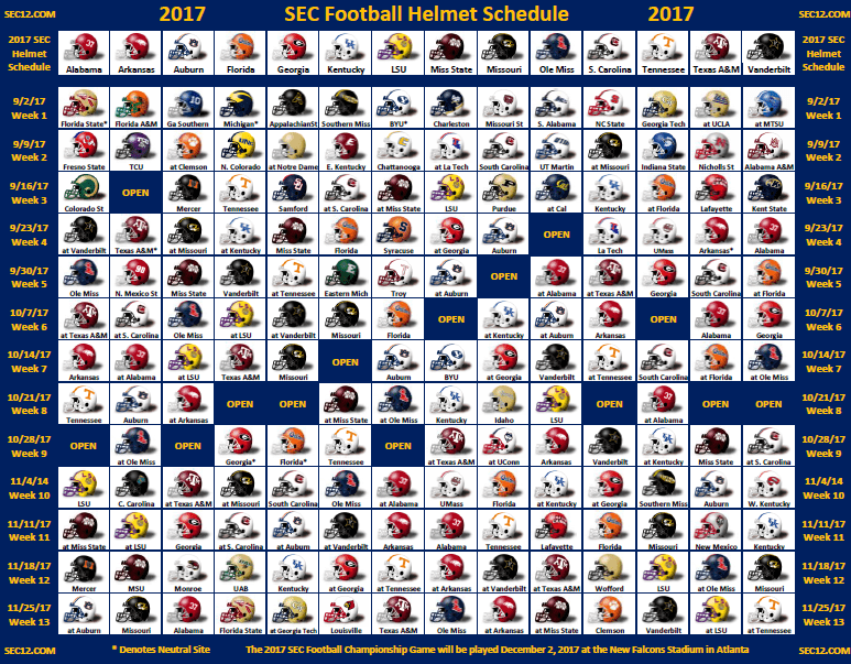 2017 2018 Bowl Games Printable >> 2017 SEC Football Helmet Schedule - SEC12.com - SEC Football