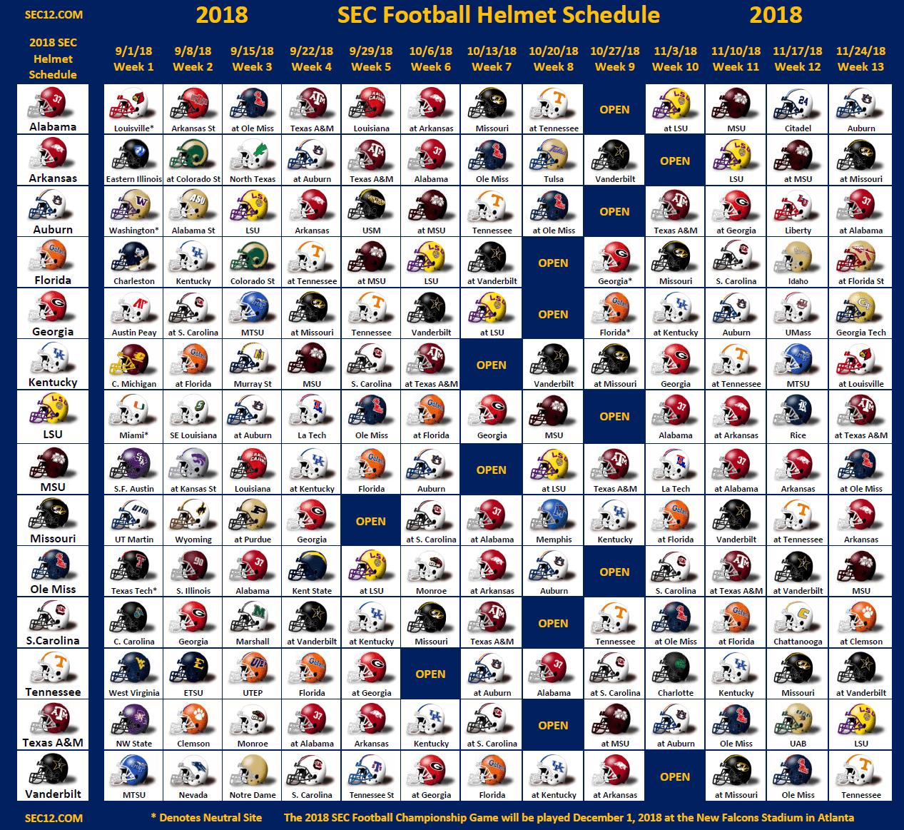 2018 Sec Football Helmet Schedule Sec12 Com Sec Football