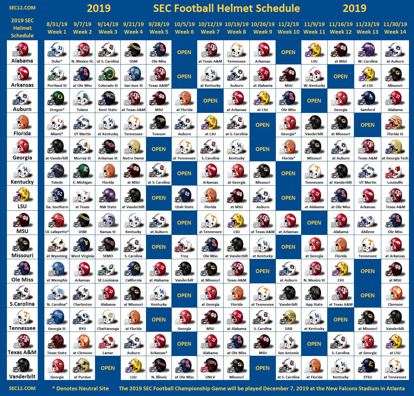 2019 SEC Football Helmet Schedule