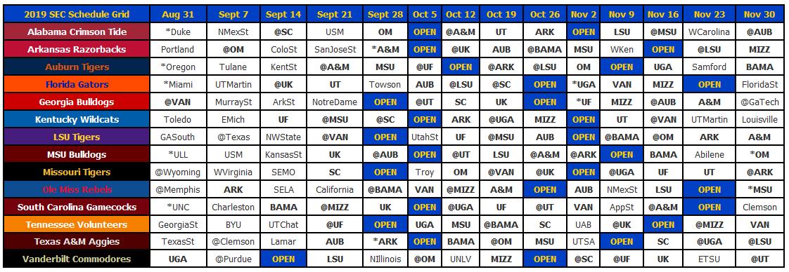 2019 SEC Football Schedule