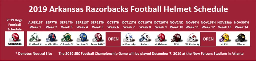 2019 Arkansas Football Helmet Schedule