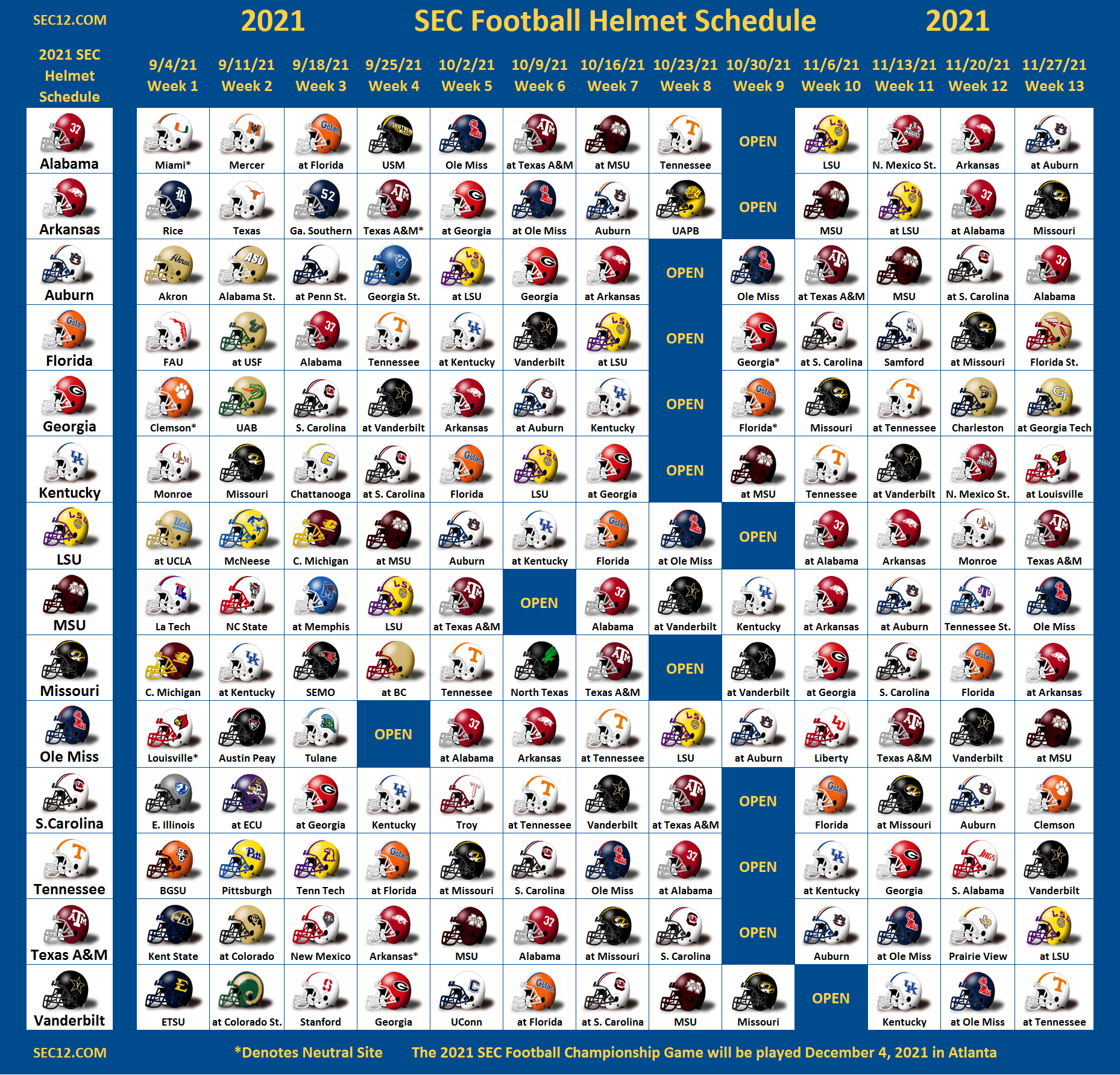 2021 SEC Football Helmet Schedule